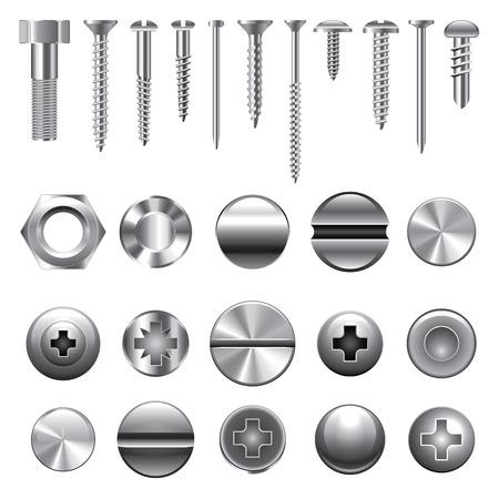 Tornillos, tuercas y remaches iconos detallado conjunto de vectores Vectores