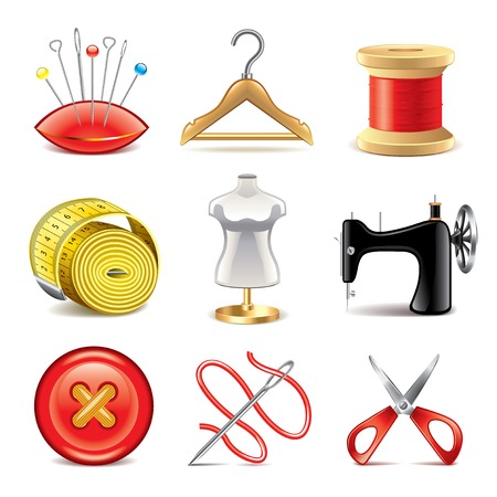 Sewing equipment icons detailed photo-realistic vector set Vector