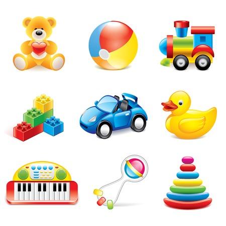 Kleurrijke speelgoed iconen gedetailleerde fotorealistische vector set Stock Illustratie