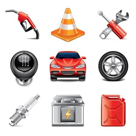 車のサービスとツール アイコン高詳細なベクトルを設定
