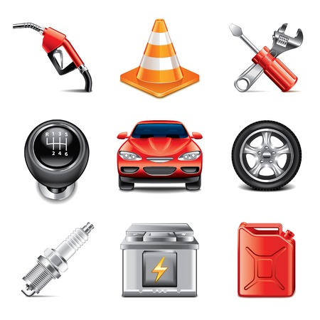 Car service and tools icons high detailed vector set Illustration