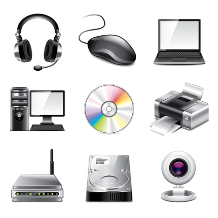 Computer and devices icons high detailed vector set Vector