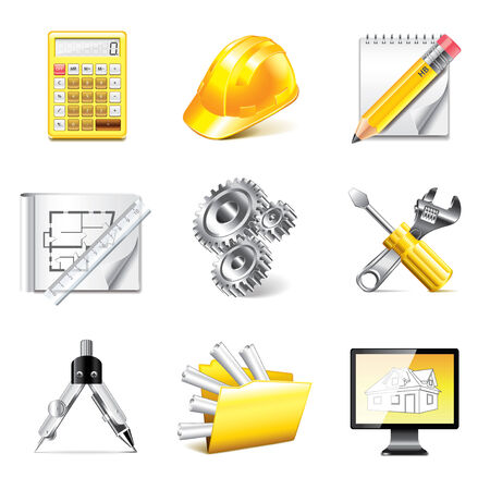compasses: Engineering and tools icons high detailed vector set