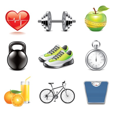 Fitness and health icons high detailed vector set Illustration