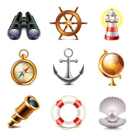 Marine retro icons high detailed vector set Vector