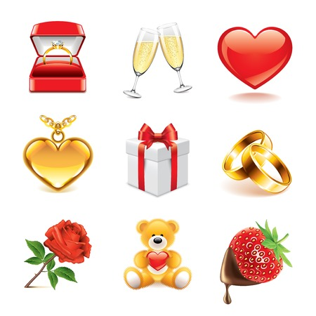 day valentine's day: Romantic and Valentines day icons high detailed vector set