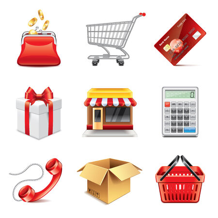 Shopping store icons high detailed vector set Vector