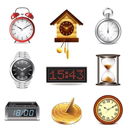 cuckoo clock: Different clocks icons photo realistic vector set