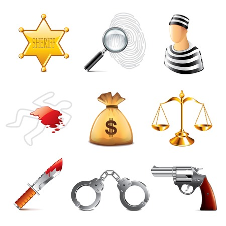 rime: ?rime and law icons photo-realistic vector set Illustration