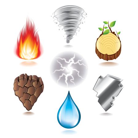 fuoco e fiamme: Sette elementi naturali icone foto-realistica insieme vettoriale