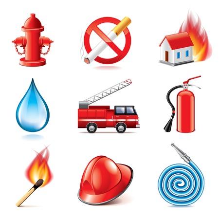 incendio casa: Iconos lucha contra incendios photo conjunto de vectores realistas