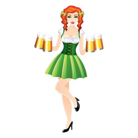 irish pub: woman with beer mug, St. Patrick concept Illustration