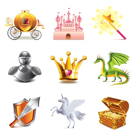 wand: Fairy tale icons photo-realistic vector set