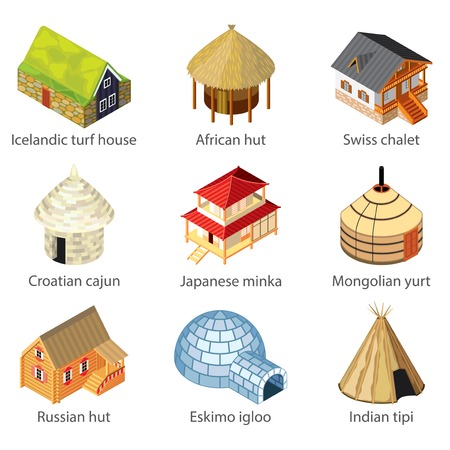 chalet: Houses of different nations icons photo-realistic vector set
