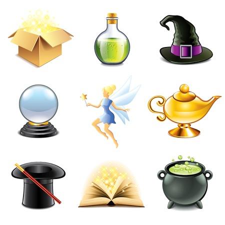 lampara magica: La magia y la hechicer�a iconos conjunto de vectores fotorrealista
