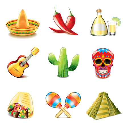 mexican restaurant: Mexican culture icons photo-realistic vector set