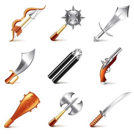 interface scheme: Old weapons for games icons photo-realistic vector set Illustration