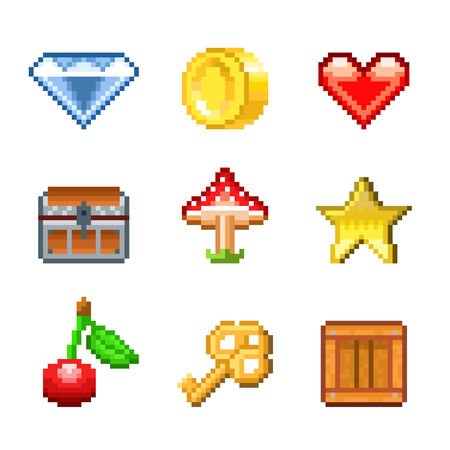 coins: Pixel objects for games icons photo-realistic vector set