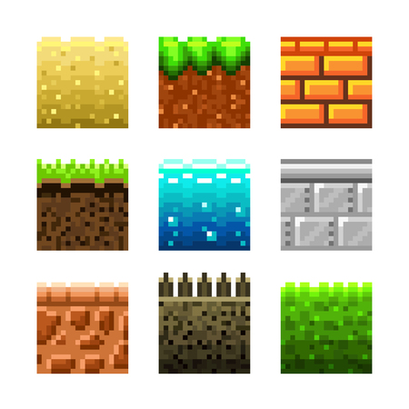 pixel art: Textures for platformers pixel art photo-realistic vector set