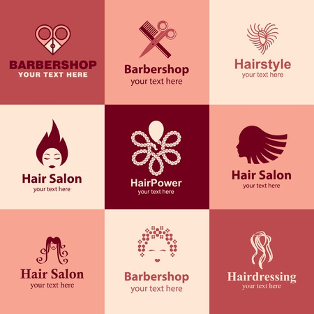 barbershop flat icons set logo ideas for brand Vector