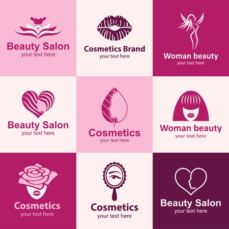 beauty salon flat icons set logo ideas for brand Vector