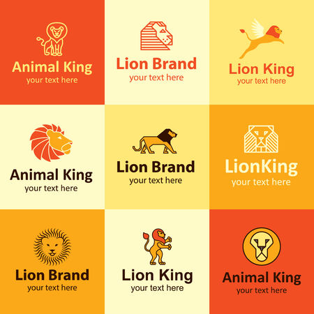 lion wings: lion flat icons set  for brand Illustration