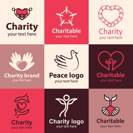 hope: Charity flat icons set ideas for brand
