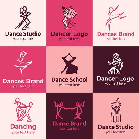 Dance flat icons set ideas for brand Illustration