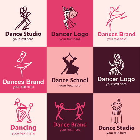 Dance flat icons set ideas for brand Illustration