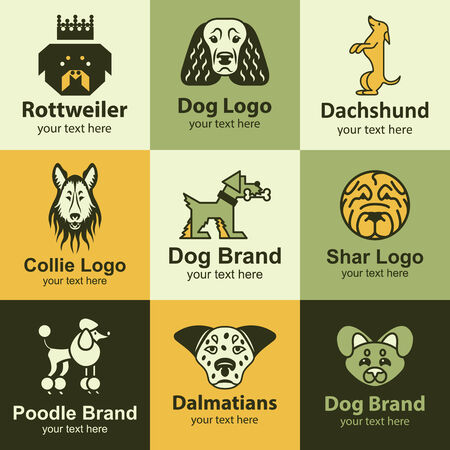 collie: Dog flat icons set ideas for brand