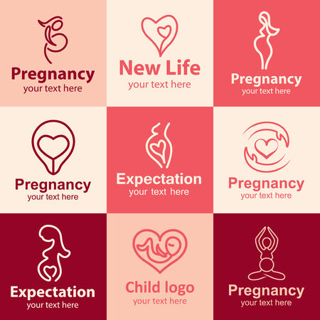 Pregnancy flat icons set ideas for brand Vector