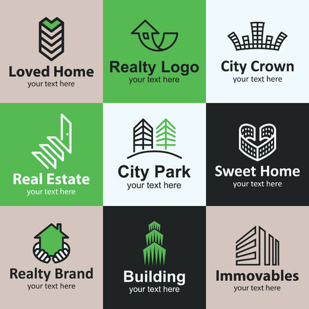 building industry: Building flat icons set logo ideas for brand