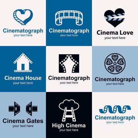 Cinema flat icons set logo ideas for brand Vector