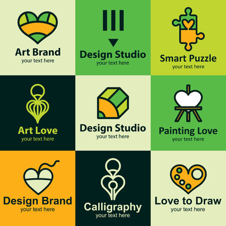 Graphic design flat icons set logo ideas for brand Vector