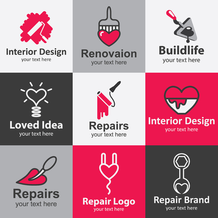 construction logo: Home repair flat icons set logo ideas for brand Illustration