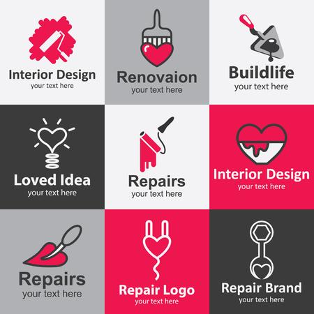 Startseite Reparatur flachen Icons Set logo Ideen für die Marke Illustration