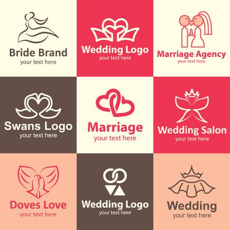 Wedding flat icons set logo ideas for brand Illustration