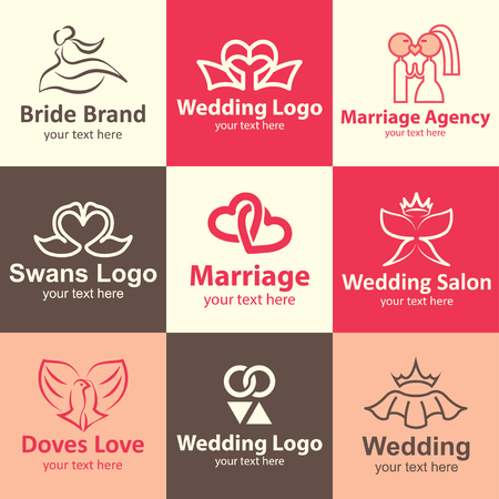 Wedding flat icons set logo ideas for brand Vector