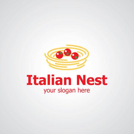 italian pasta: Spaghetti as nest vector icon design, icon idea for italian restaurant brand Illustration
