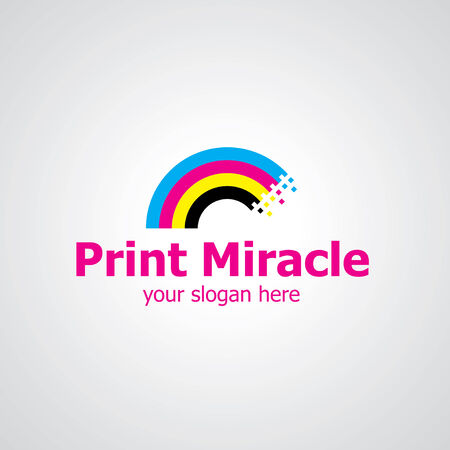 Rainbow from print colors vector icon design, icon idea for printing house brand Illustration