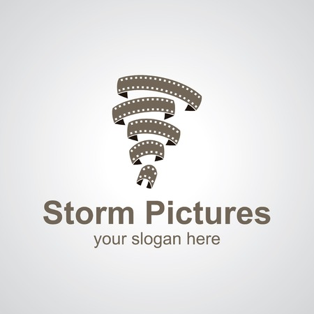 cinta de pelicula: Tornado de diseño del logotipo películas vectorial, idea icono para la marca del cine Vectores