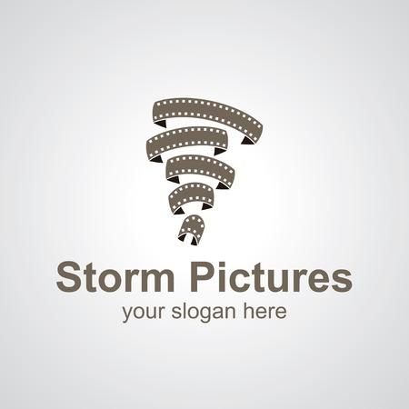 Tornado from films vector logo design, icon idea for cinema brand Vector