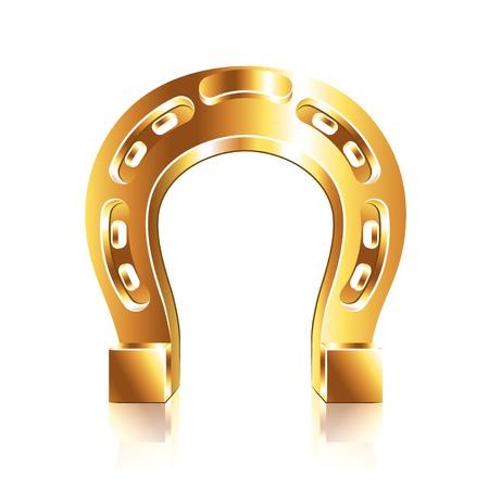 golden horseshoe: Horseshoe isolated on white photo-realistic vector illustration