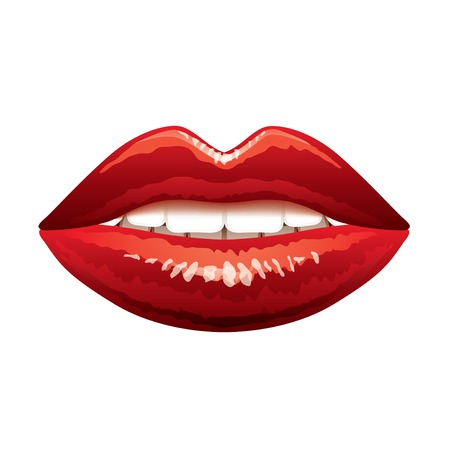 Beautiful red lips isolated on white photo-realistic vector illustration Vettoriali