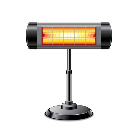 heater: Electric heater isolated on white photo-realistic vector illustration