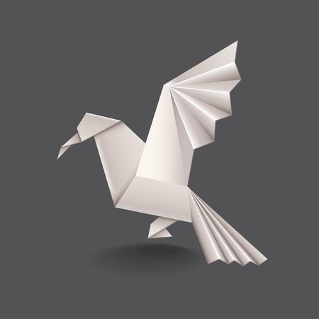 Origami vogel op een donkere foto-realistische vectorillustratie