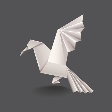 Origami bird isolated on dark photo-realistic vector illustration