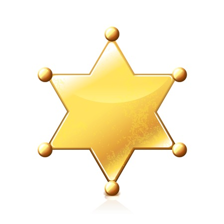 Sheriff star isolated on white photo-realistic vector illustration