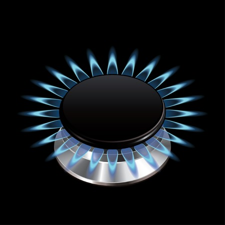 gas stove: Gas flame from stove isolated on black photo-realistic vector illustration