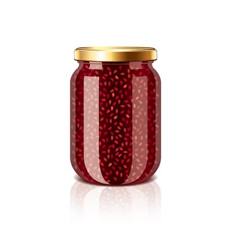 jam jar: Raspberry jam jar isolated on white photo-realistic vector illustration